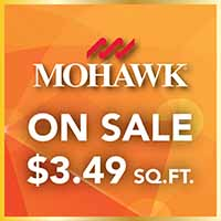 Mohawk carpet sale on Thatcher and Franklin collections. American made. Regularly priced at $3.79 sq ft. On sale for $3.49 per sq ft