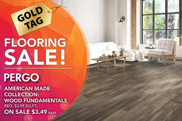 Pergo American Made Collection Wood Fundamentals on sale. Regular price $3.99 sq ft. On sale now $3.49 sq. ft.